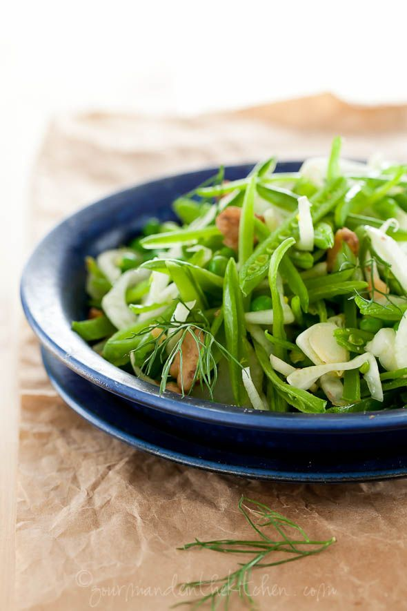 Sugar Snap Pea and Fennel Salad with Apple Cider Vinaigrette, Welcoming Spring. From Gourmande in the kitchen.