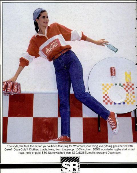"""""""My first collection was inspired by a fusion of the classic East Coast styles I grew up with and the relaxed, youthful spirit of the West Coast,"""" notes Hilfiger, who also worked with Coca Cola on a series of rugby shirts at the time. """"It was the kind of clothing I wanted to wear but couldn't find anywhere."""""""