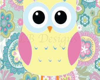 Aqua and Pink Girl's Owl Nursery Print Girl's by LJBrodock on Etsy