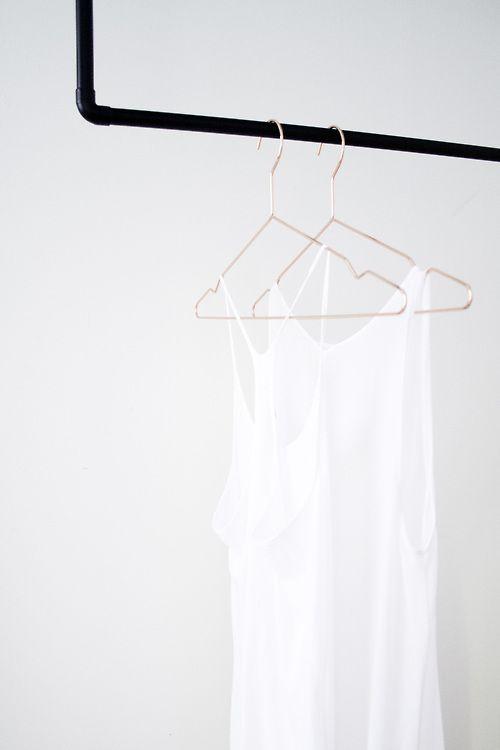 Black rail + copper hangers