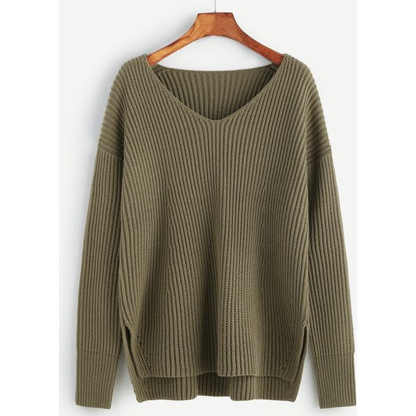 SheIn(sheinside) Olive Green Ribbed Knit Slit High Low Sweater ($24) ❤ liked on Polyvore featuring tops, sweaters, green, green pullover sweater, brown sweater, v-neck sweater, v neck pullover sweater and asymmetrical sweater