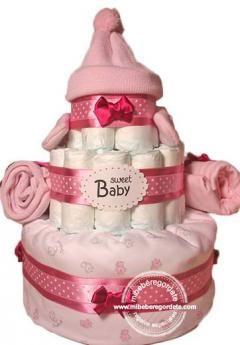 """Tarta de Pañales """"Mi Primer Invierno"""" para Niñas, Regalo Especial para Bebés de Mi Bebé Regordete  #regalosbebes #tartasdepañales #canastillahospital"""
