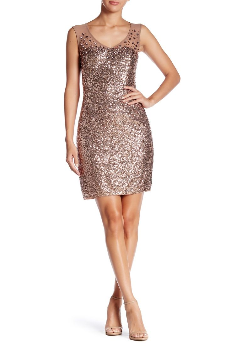 Marina   Illusion Sequined Dress   Nordstrom Rack