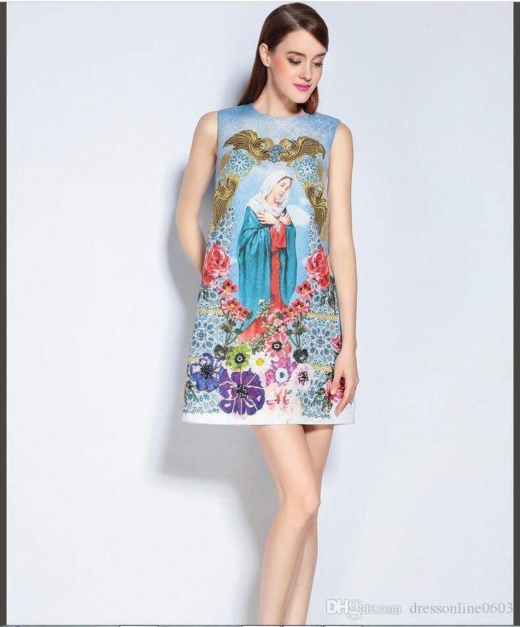 2017 A Line Virgin Print Dress Sleeveless 2017 Newest Style Summer Beach Dresses Online Beaded Nice Buttons Back Vestidos Mujer From Dressonline0603, $69.25 | Dhgate.Com