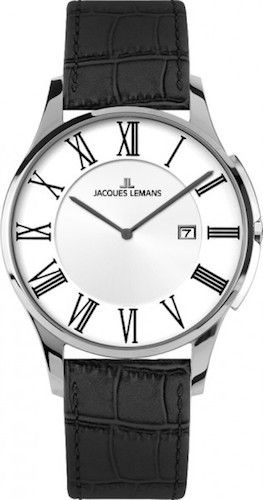 Jacques Lemans 1-1777D Men Watch Silver Dial Genuine Anti-Allergic Leather Strap