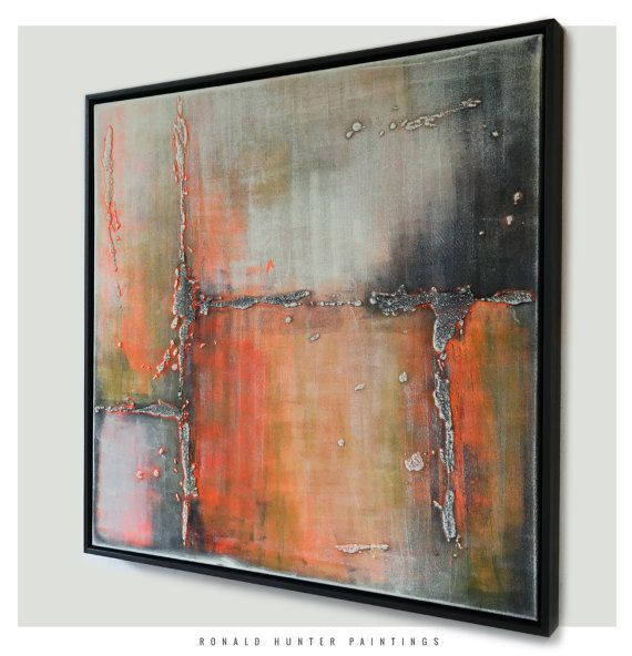 abstract painting in floating frame orange by ronaldhunter 48900 abstract painting canvasframed