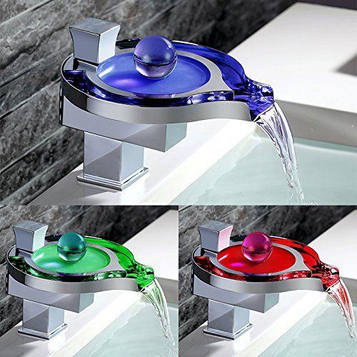 homelody robinet mitigeur cascade led eclairage tricolore design moderne pour lavabo salle de bains cet
