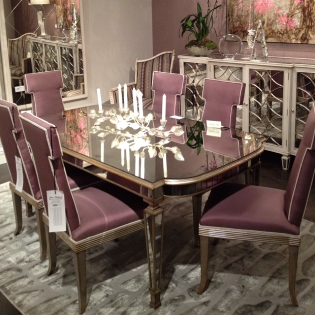 John Richard Antique Mirrored Dining Table: Solid Antique Mirror Top With  Parisian Silver Finish On