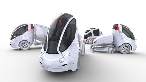 The Citi.Transmitter is a versatile urban-transportation concept that expands on the shared-vehicle solution by offering a mix of eco-friendly modular units for a variety of needs. Using an innovative smart-hitch system, users can easily attach modules to the primary 2-wheeled car to carry more passengers or cargo. About a 4th of the size of standard cars, the ultra-compact vehicle makes getting around heavily congested cities a cinch!  - Designed by Vincent Chan