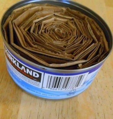 She slides rolled cardboard into a tuna can. The reason? This is BRILLIANT!