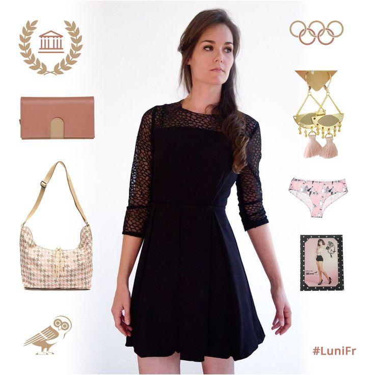 Le look de la semaine en détails sur le mag  http://luni.fr/le-mag/ ✈️#look #lookbook #lookdujour #fashion #createur #createurfrancais #robe #robenoire #black #pink #sacamain #portefeuille #bouclesdoreilles #culotte #collant #tattoo #luni #lunifr #madeinfrance #flatlay #flatlays #frenchblogger #athens #athenes #JO #greece #grece #mode