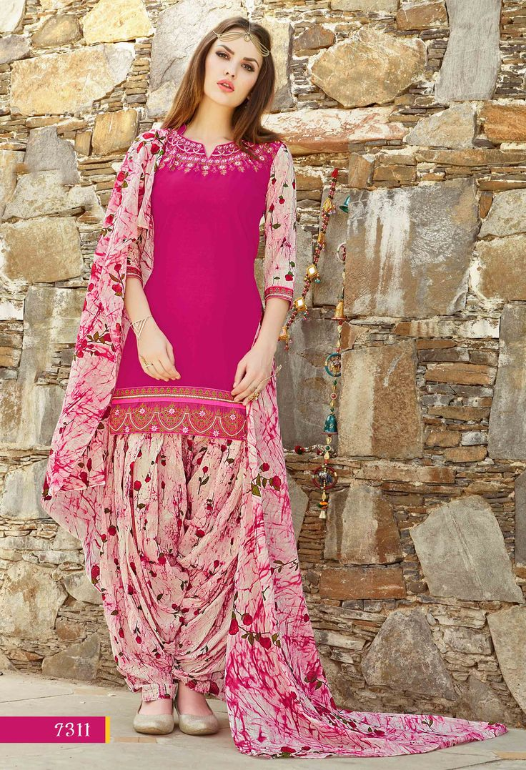 Fashionnow Pink Cotton Patiala Salwar Kameez