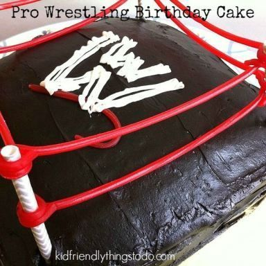 Pro Wrestling (WWE) Theme Birthday party with DIY wrestling cake idea. No Fondant! Easy to do!