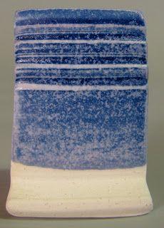 Glazeitorium: Satin fired in a cone 6 electric kiln on white stoneware D.K. 11 5 revised Custer feldspar 62.0 Whiting 14.0 Zinc Oxide 6.0 Talc 8.0 EPK 10.o  Cobalt Carb 2