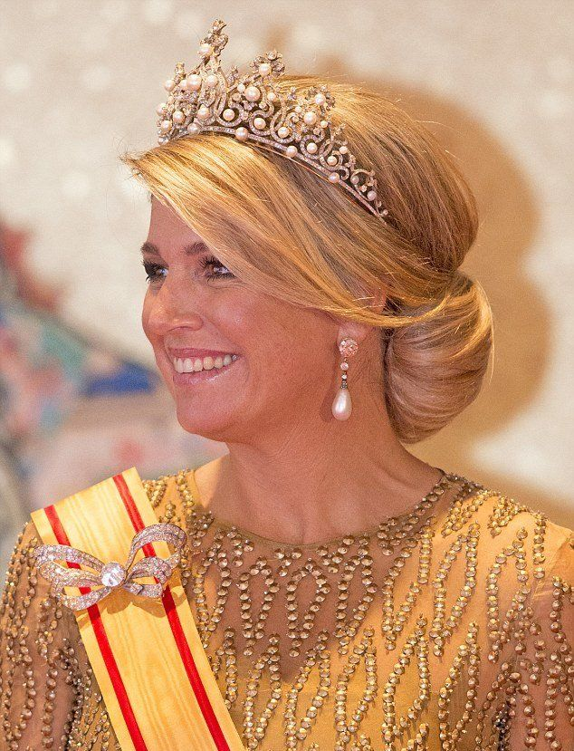 Queen Maxima wearing the Wurttemberg Ornate Pearl Tiara.