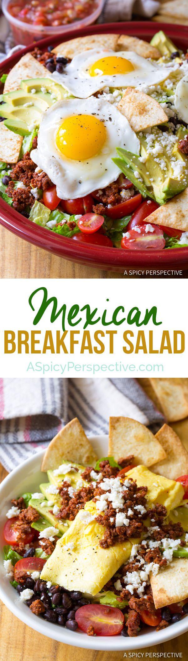 Zesty Mexican Breakfast Salad | ASpicyPerspective.com