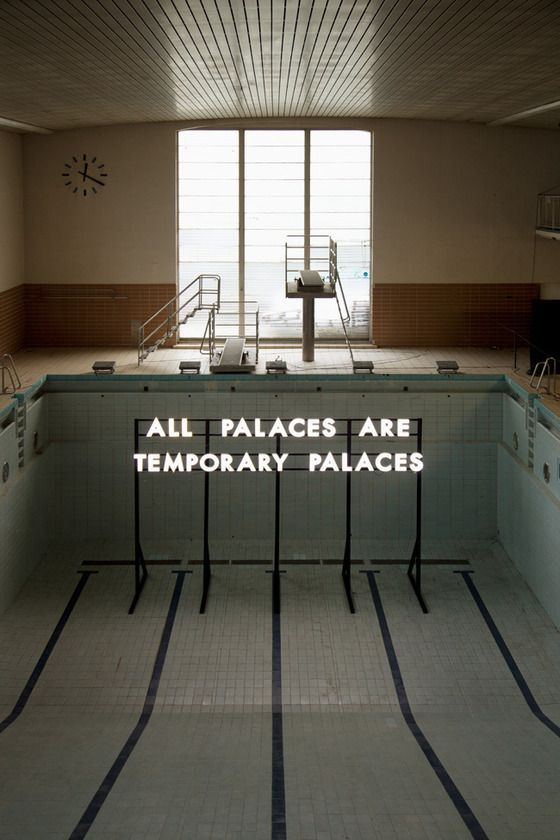 Robert Montgomery's light installation at the former swimming pool Stattbad Wedding in Berlin, as part of his Echoes of Voices project