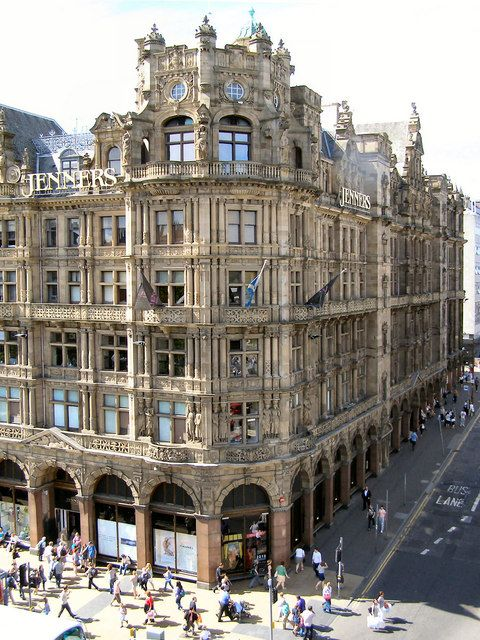 "Jenners Department Store, commonly known simply as Jenners, is located at the corner of Princes Street and South St David Street. It is viewed here from one of the viewing platforms on the Scott Monument. For a long time, Jenners  was a family-run business, but was brought under the ownership of House of Fraser. It has maintained its original position on Princes Street since 1838. Known as the ""Harrods of the North"", it has held a Royal Warrant since 1911."