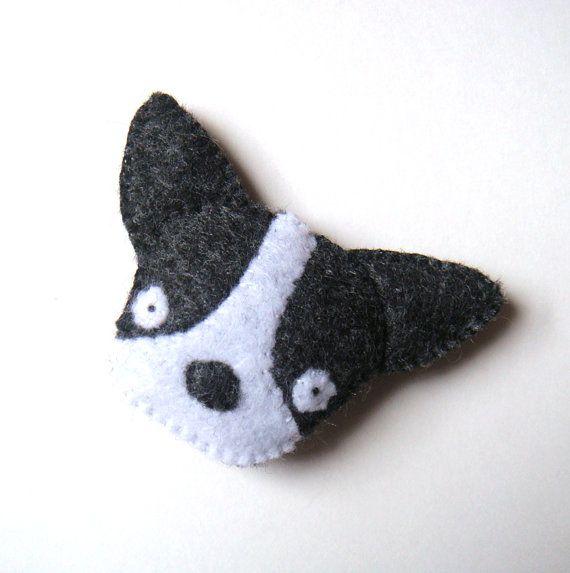 Boston Terrier French Bulldog Felt Brooch Black & White by mikaart