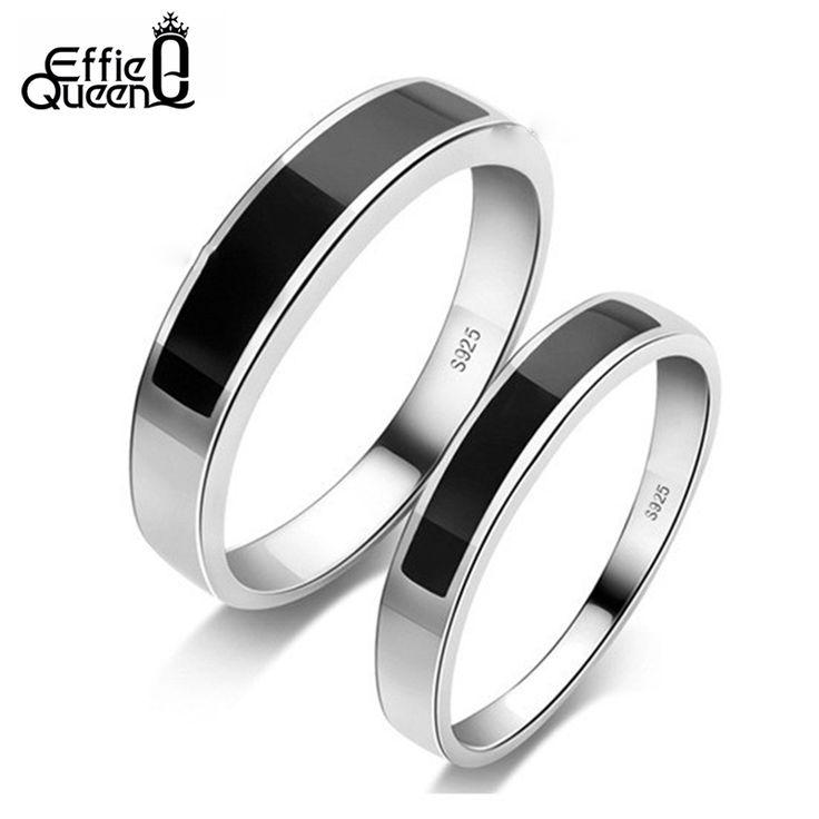 Effie queen più nuovo stile uomini donne anello di barretta top quality agata nera platino placcato nozze anello di fidanzamento anelli paio wr27