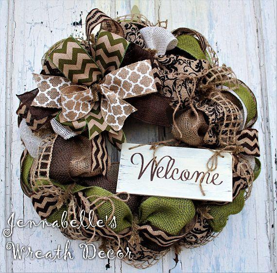 Fall Wreath Summer Wreath Burlap Wreath Chevron Burlap