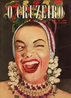 """Carmen Miranda on the cover of """"O Cruziero Magazine,"""" 1949. [pr]"""