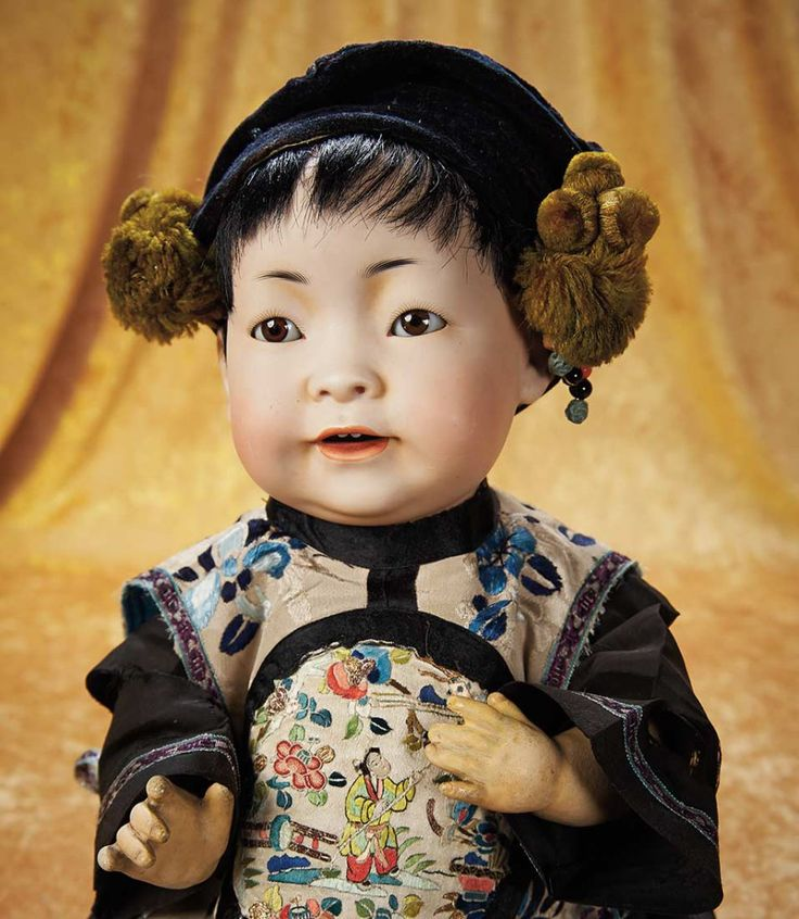Bisque Chinese Baby, Model 243,. by Kestner in Fine Antique Costume 3000/4000