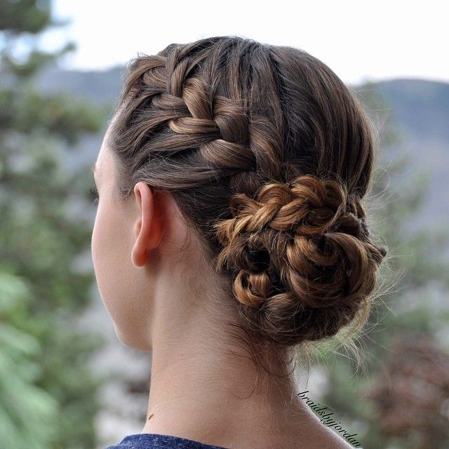 French Braid into a Braid Wrapped Messy Bun on myself today! ☺️ I made the bun by tying sections of hair into loose knots and pinning them in place  #30DaysNewBraids #30DNBDay1