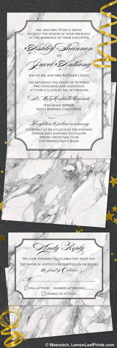 Black and white marble calligraphy wedding invitation and reply card. Elegant with traditional invitation wording and pretty calligraphy script font. Trendy for 2017.