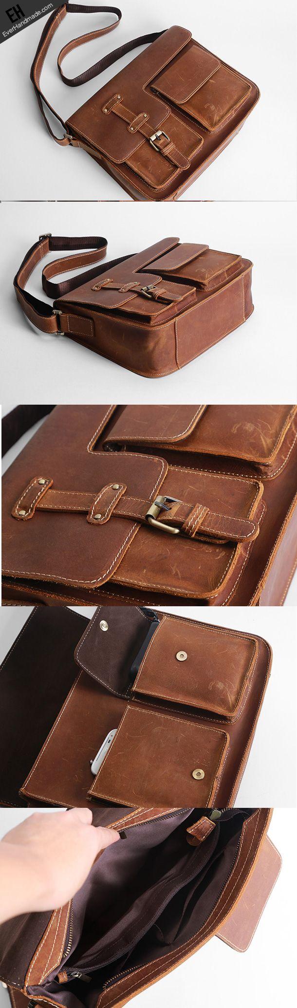 Handmade leather men satchel bag messenger large vintage shoulder