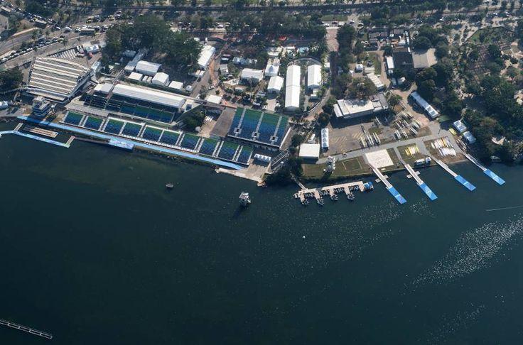 Vista aérea do Estádio Lagoa que vai acolher as competições de remo e canoagem durante os Jogos Olímpicos Rio 2016, na Lagoa Rodrigo de Freitas