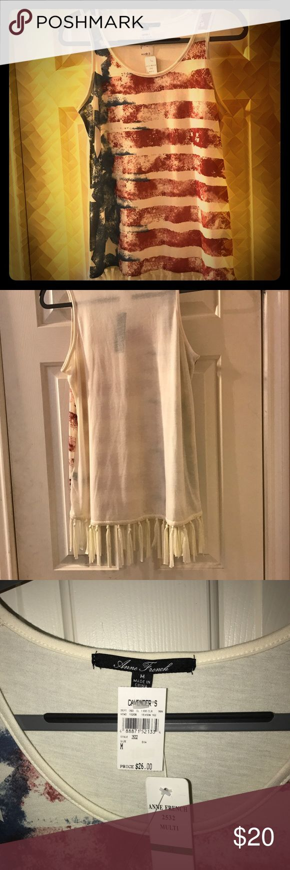 Anne French patriotic tank top with fringe size M Anne French tank top with American flag design on front and fringe around bottom hem. Brand new - never been worn. NWT Anne French Tops Tank Tops