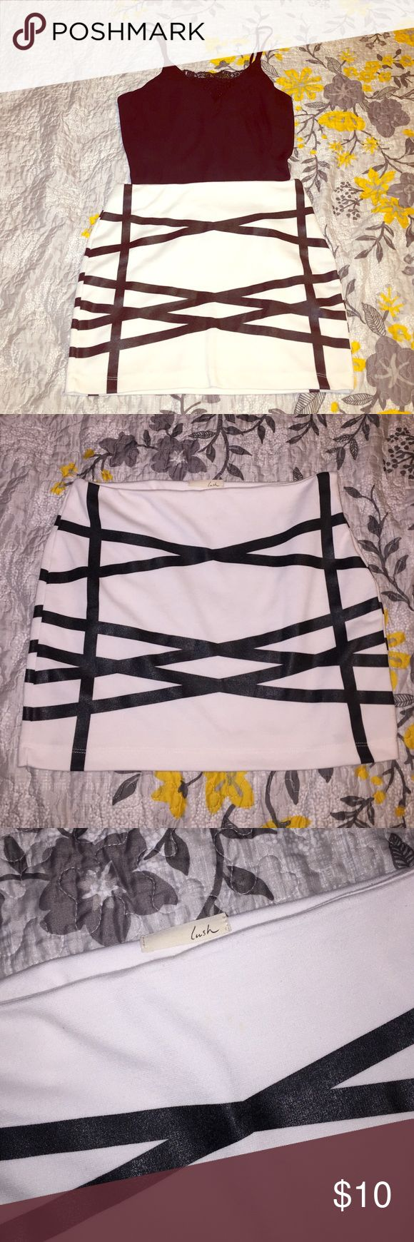 """🔸Lush White Mini Skirt 🔸 White mini skirt from Lush. Has very cute black bandaged design to make super unique ! Skirt is comfy ... Perfect for a night out ! Length 15"""" Lush Skirts Mini"""