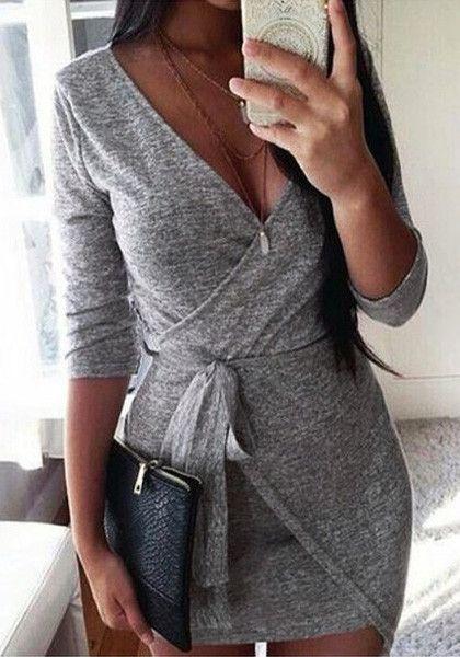 grey melange asymmetric wrap dress                                                                                                                                                      More