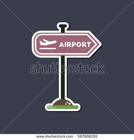 paper sticker on stylish background airport sign