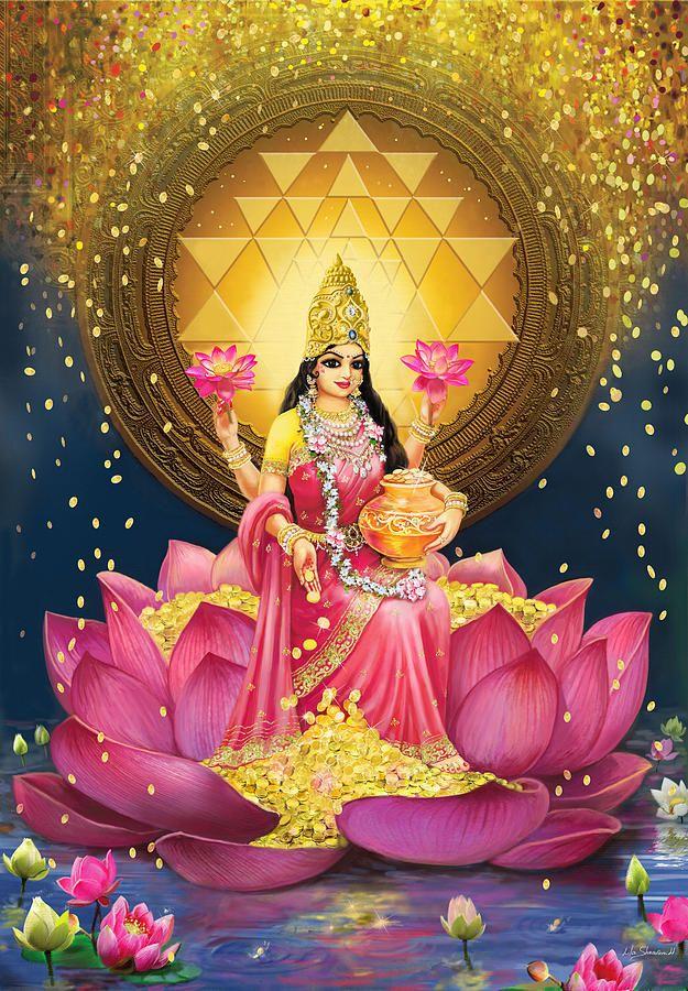 Gold Lakshmi Painting by Lila Shravani