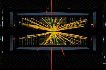 Proton-proton collisions showing what may be the Higgs boson particle. No. Apparently, it *IS* a Higgs Boson! #HiggsBoson