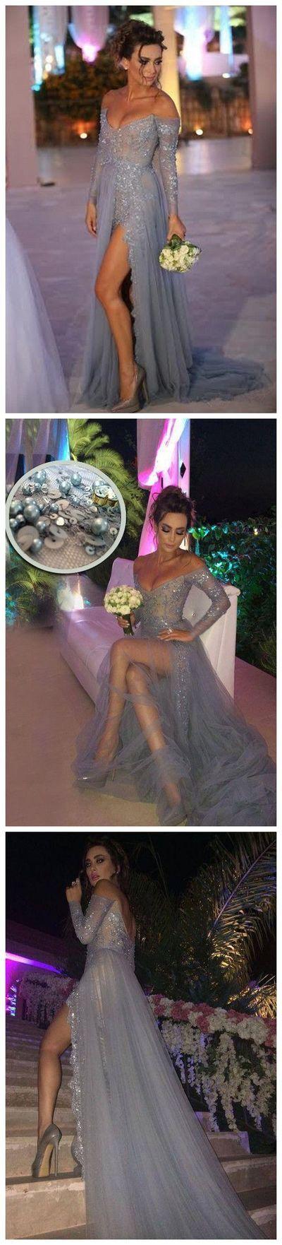 Charming Prom Dress,Long Sleeve Prom Dress,High Slit Prom