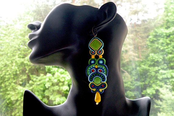 Earrings-Soutache Jewelry-Hand Embroidered Montezuma Green