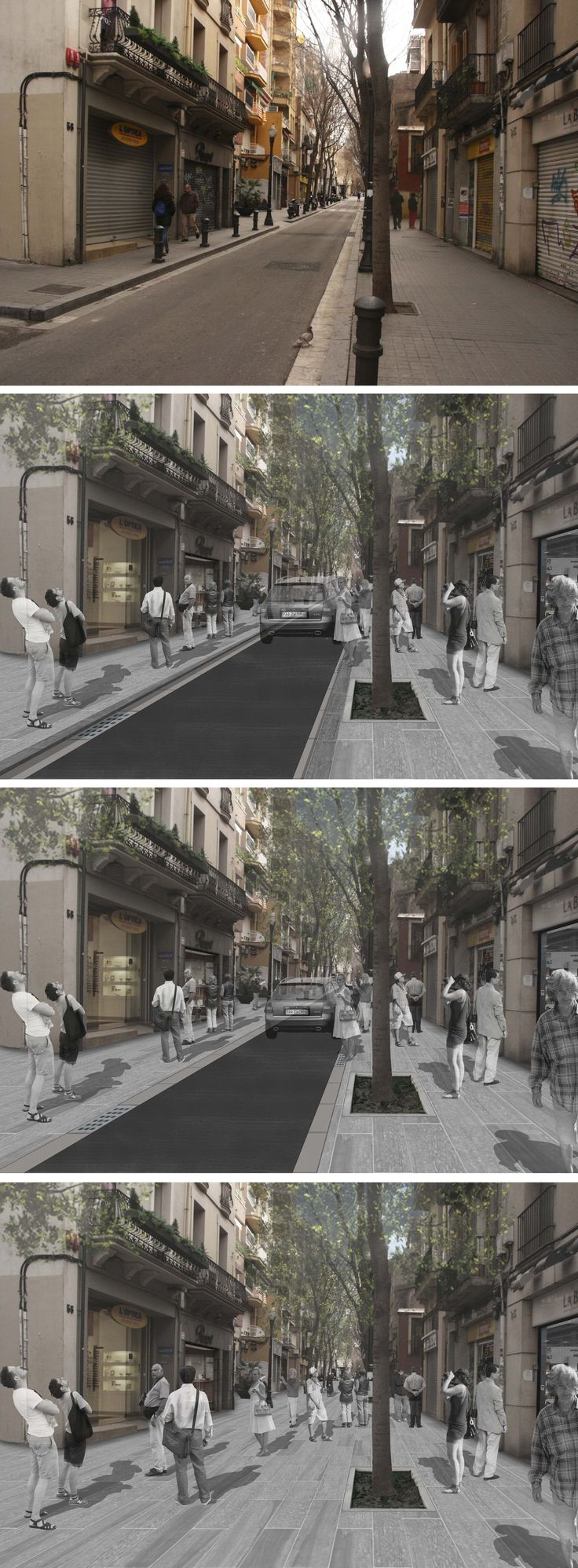 """Current state and photomontages of the different action proposals for """"Carrer Gran de Sant Andreu"""", Barcelona"""