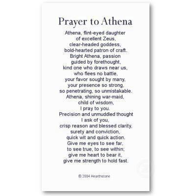 Prayer to Athena, Goddess.