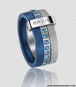 Breil gioielli Anello Breilogy in acciaio con cristalli blu e finiture diamantate grigia e blu modello tj1427 www.demarchigianotti.com