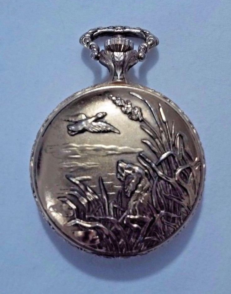 1980 Mens Pencron Pocket Watch Shock Resistant Swiss Made Duck Hunter Dog EUC #Pencron