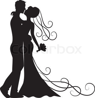 Cute bride and groom silhouette