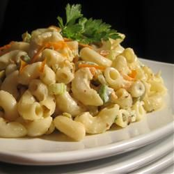 Classic Macaroni Salad...make 1/2 the recipe, leave out vinegar and sugar, added 1 1/2 tablespoons of relish and teaspoon of garlic powder. Full recipe would be for party!