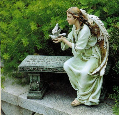 Angel Sitting On Memorial Bench Sculpture Religious In