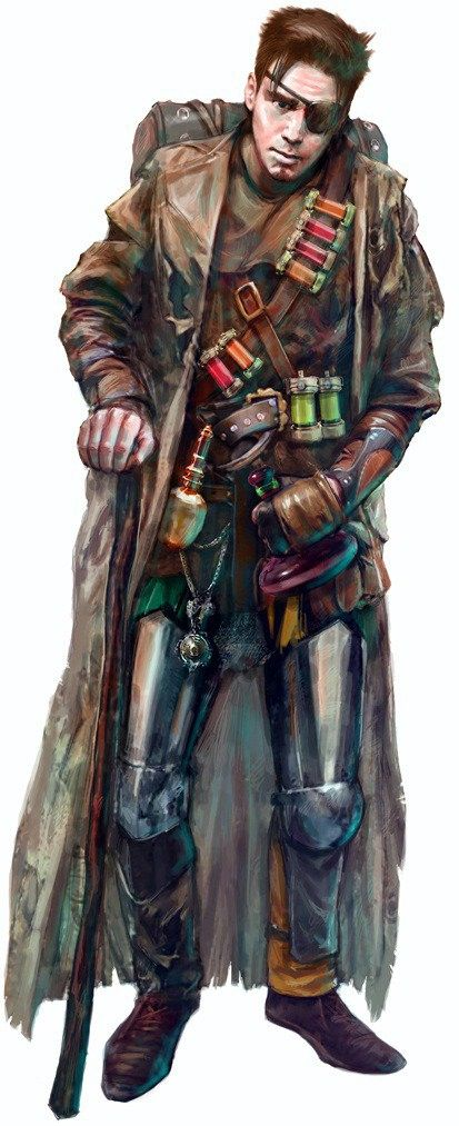 The apothecary's coat should have tons of bottles and vials hanging off it, some in the coat, some hanging from belts and straps, kind of a cool, jumbled mess.