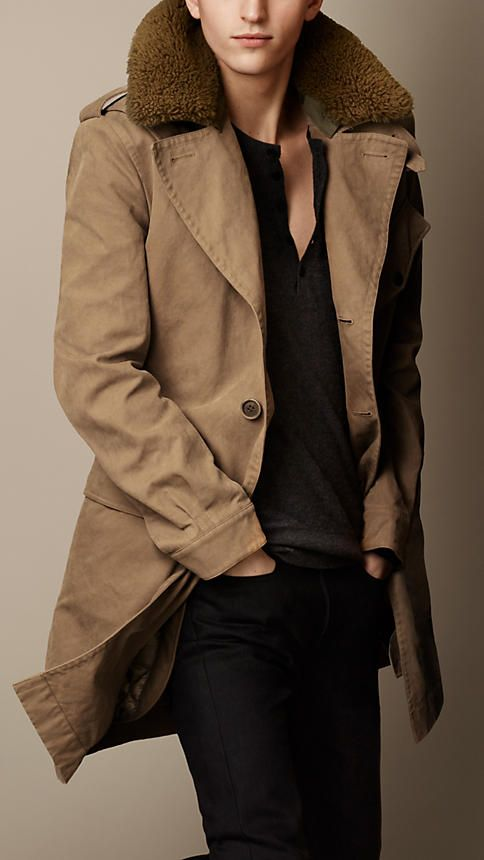 Mens Shearling Trench Coat CQjsev