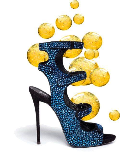 Giuseppe Zanotti Blue Sandal - Sparkle and Bubble Shoes