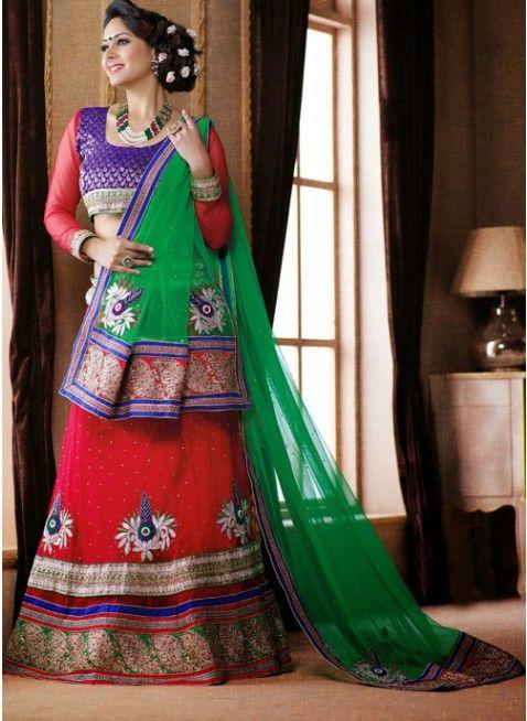 Melodic Red color Net Based #Lehenga Choli